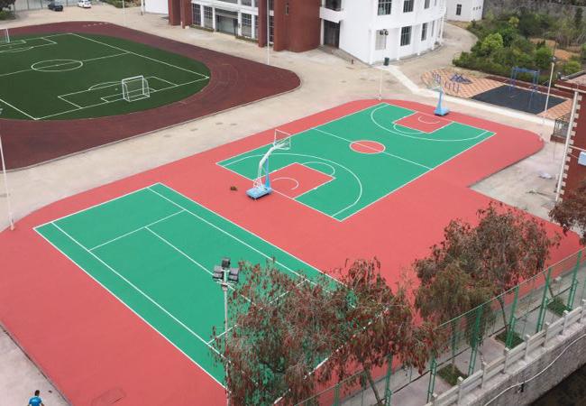 热烈庆祝福建泉州1500平方室外丙烯酸篮球场以及丙烯酸网球场完工!