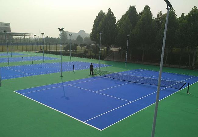 捷报江西萍乡市安阳学院2800平方弹性丙烯酸网球场完美竣工啦!