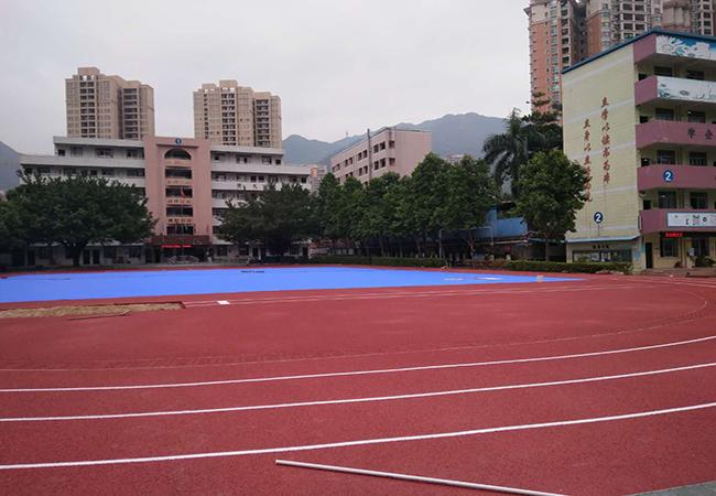 广东清远育苗小学混合型塑胶跑道按时竣工!