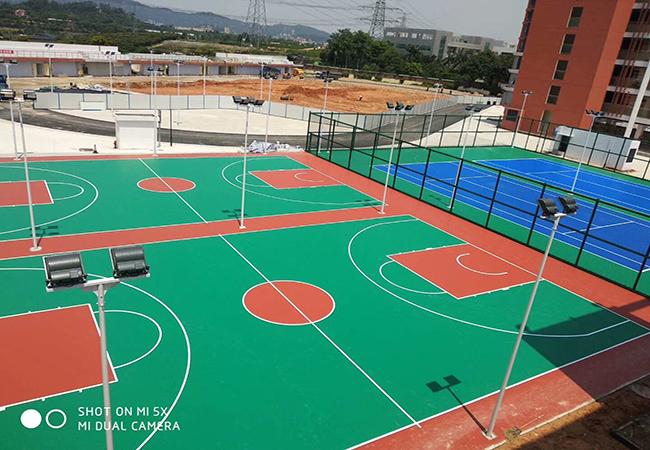 广东深圳小学硅PU网球场施工 历时半个多月,做出来的效果是这样?