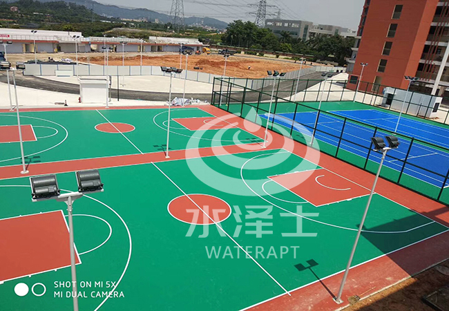小学硅PU网球场施工