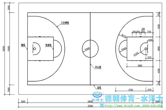 德朝体育篮球场尺寸图