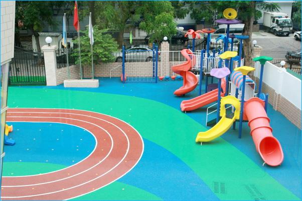 新国标彩色EPDM塑胶跑道给孩子快乐童年!【德朝体育】